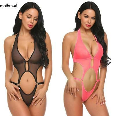 Women Deep V Halter Lingerie Sexy See Through Mesh Babydoll Mini M5BD
