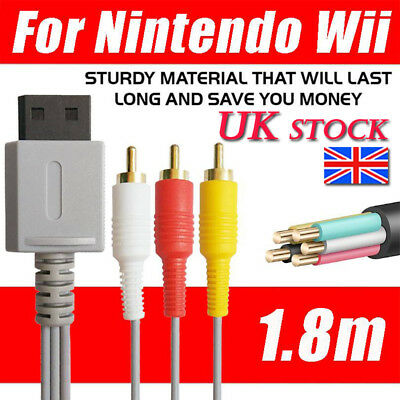 Audio Video AV Composite 3RCA Cable TV Lead Wire For Nintendo Wii Game Plated UK