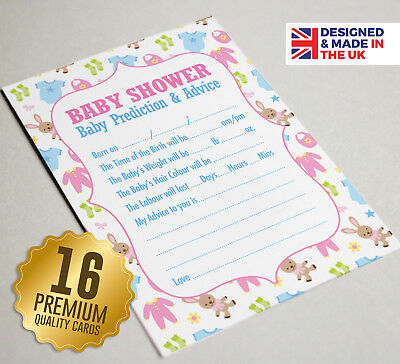 Baby Shower Prediction & Advice Game 16 A6 Party Cards - Unisex Neutral Girl Boy