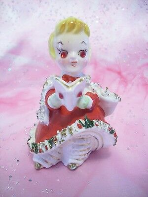 *SUPER RARE VTG* Kreiss Christmas Girl Angel Holds Book Rhinestone Bell Figurine