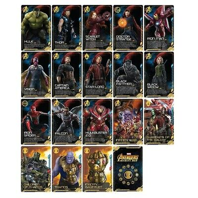 AVENGERS Invinity war 18 card with folder