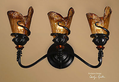 "French Xl 22"" Bronze Hand Wrought Metal Glass Wall Light Sconce Vanity Light"