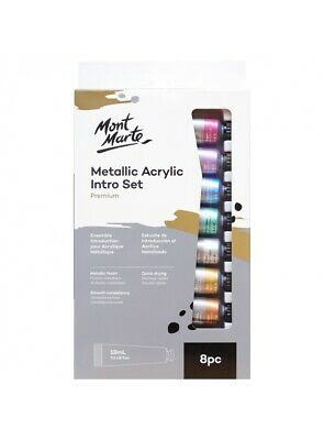 Metallic Acrylic Paint Intro Set 8 x 18ml Mont Marte Craft Art Supply Artist