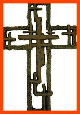 "Cast Iron Multiple Cross Hanging Wall 11"" HOME DECOR BROWN 9"