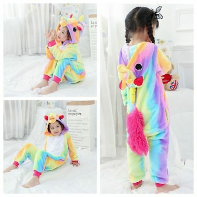 Kigurumi Cartoons Rainbow Pyjama Cosplay Costume Unicorn Sleepwear Kids Pajamas