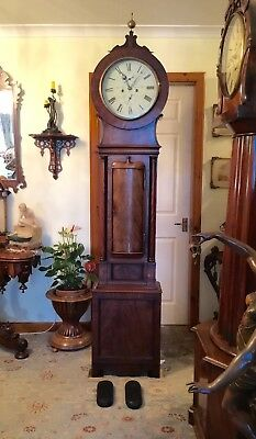 Early 19th Century Scottish Mahogany Drumhead Longcase Clock