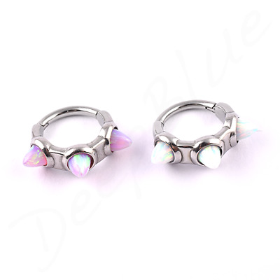 SURGICAL STEEL Hinged SEGMENT RING White/Pink OPAL SPIKES 1.2 x 8mm Daith Ear