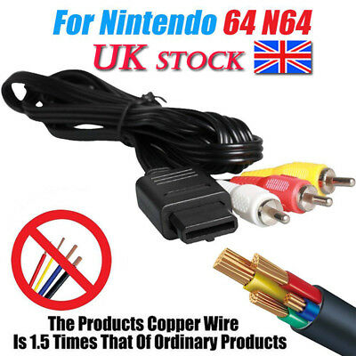 6ft AV Lead RCA Video Cable for N64 Gamecube&SNES Nintendo  Cable Wire TV Game
