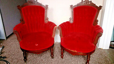Antique Chairs Victorian Tufted Red Velvet Carved Eastlake