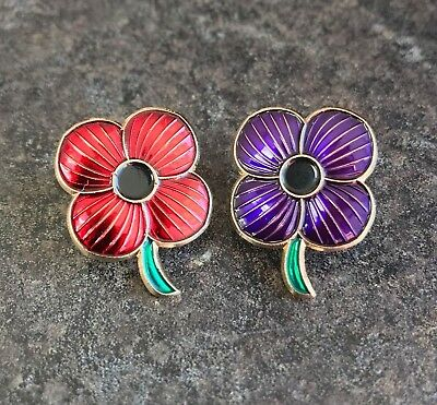 Purple & Red Poppy Enamel Pin Badge Set | Animals Of War | Remembrance Day 2019