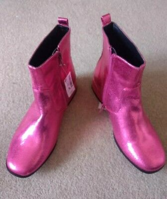 Girls  Ladies Next Shiny Metallic Pink Zip Up Ankle Boots Size 4 New Rrp £30
