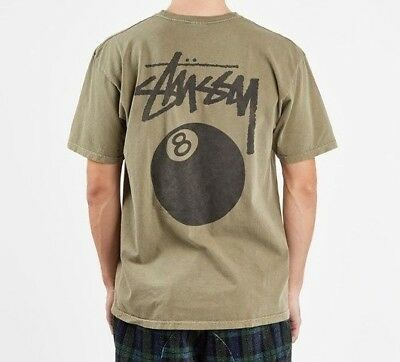 5c505d36c4 STUSSY 8 BALL Pig. Dyed Tee Army 1904276-0483 NEW 100% Authentic