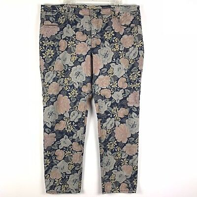 Breaker Womens Crop Ankle Jeans Size 17 Faded Blue Pink Floral Stretch 446