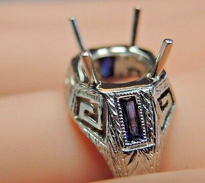 Antique Art Deco Vintage Setting Mounting Hold 8MM-11MM 18K White Gold Rg Sz 9