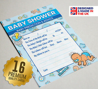 Baby Shower Prediction & Advice Party Game, 16 A6 Cards, Boys BLUE TOON Theme