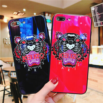 For iPhone X 7 Plus 8 Cover New Design Of H9 Blue Glass Tiger Soft Case