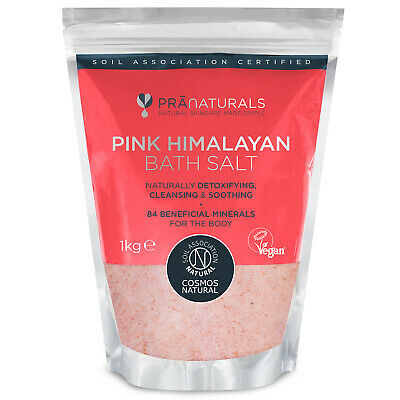 PraNaturals Pink Himalayan Spa Bath Salt Fine 100% Natural Mineral Rich 1KG Bag