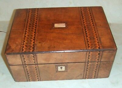 Antique Tunbridge Ware Marquetry Banded Work Box With MOP Inlay.