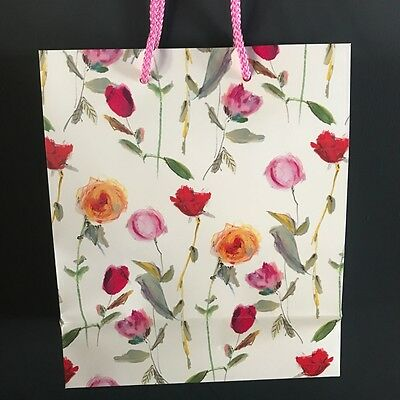 50 White Floral Paper Gift Bags Flowers Retail Wholesale Job Lot Birthday Party