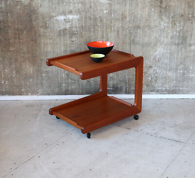 60er TEAK BEISTELLTISCH SERVIERWAGEN MID-CENTURY 60s SIDE TABLE VINTAGE CART