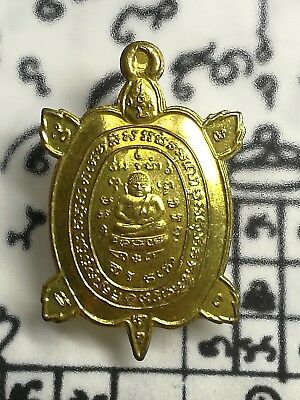 Brass Thai Amulet Buddha Phra LP Liew Turtle Monk Talisman Powerful Magic Rich