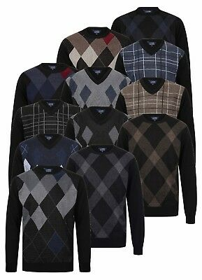 Mens Jumper Sweater Pullover Golf V Neck Crew Knitted Diamond Pattern Casual