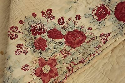 Quilt Antique French Boutis piquee fichu cotton 1810 printed Jouy Oberkampf