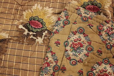 Antique French piquee boutis quilt c1820-1830 RARE LARGE printed cotton 92X101