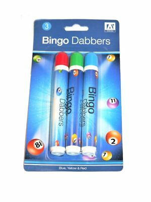 Pack of 3 Bingo Dabbers Marker Pen Markers Red Yellow Blue Green