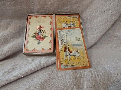 Vintage Set of 2 Playing Cards Dog Spaniel and Bouquet of Roses