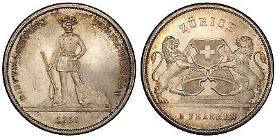 SWITZERLAND Zurich 1859 AR 5 Francs Shooting Thaler PCGS MS65 Richter-1723