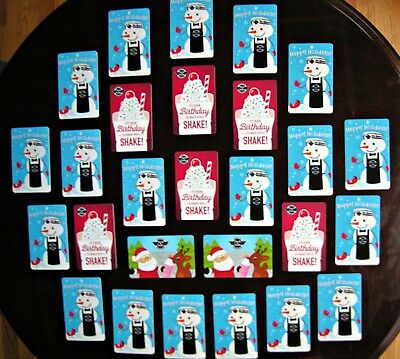 LOT 27 STEAK N SHAKE Various GIFT CARDS COLLECTION Great Collectible NO $ VALUE