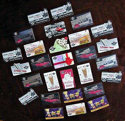 LOT 28 STEAK N SHAKE Various GIFT CARDS COLLECTION Great Collectible NO $ VALUE