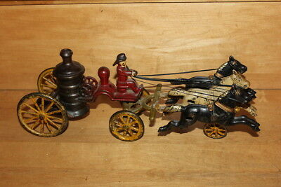 Antique Cast Iron Horse Drawn Fire Wagon Truck 3 Horses-Orig. Paint-REAL!
