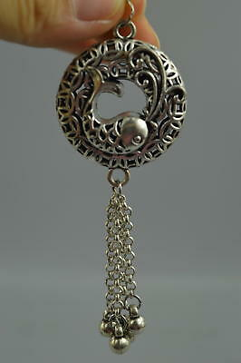 Fine Collect Chinese Tibet Silver Carve Lovely Fish Tassels Rare Pendant