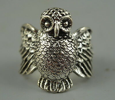 Decor Collect Chinese Tibet Silver Carve Lifelike Owl Rare Delicate Ring Gift