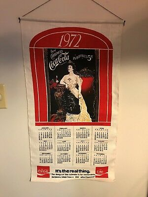 "ORIGINAL ""it's the real thing"" COCA-COLA 1972 CLOTH LINEN CALENDAR"