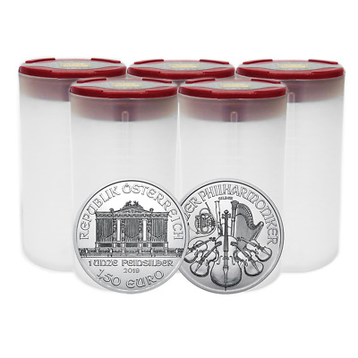 Lot of 100 - 2019 1.50 Euro Silver Austrian Philharmonic 1 oz BU 5 Full Rolls