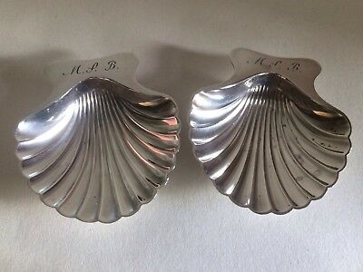 Tiffany & Co Solid Sterling Silver Pair Of Shell Shaped Salts