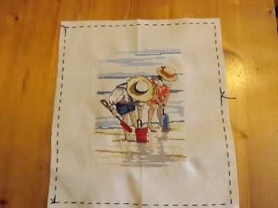 All Our Yesterdays Boy & Girl Digging on the Beach  Cross Stitch Picture