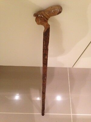Mr Punch? Walking Cane Stick Wooden Head Hand Carved One Piece - Punch & Judy?