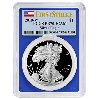 2019-W Proof $1 American Silver Eagle PCGS PR70DCAM First Strike Flag Label Blue