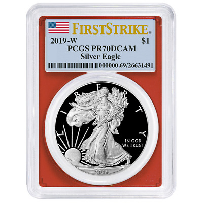 2019-W Proof $1 American Silver Eagle PCGS PR70DCAM First Strike Flag Label Red