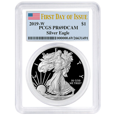 2019-W Proof $1 American Silver Eagle PCGS PR69DCAM FDOI Flag Label White Frame