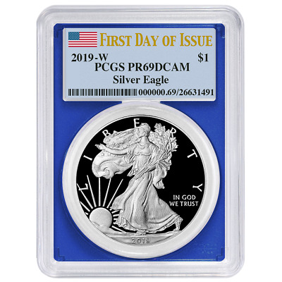 2019-W Proof $1 American Silver Eagle PCGS PR69DCAM FDOI Flag Label Blue Frame