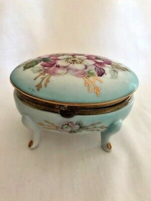Vintage - Royal Crown Footed and Hinged Trinket Box Hand Painted 33/835