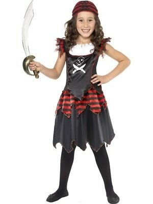 Kids Pirate Skull and Crossbones Girl Costume - Childrens Fancy Dress Up Outfit