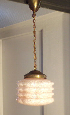 Suspension Lampe Globe Verre Rose Design 1930 50 Vintage Eur 44 90