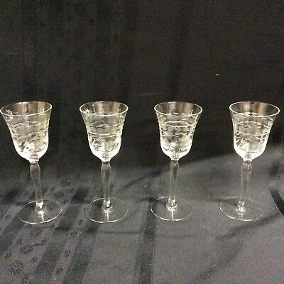 Vintage, clear,etched crystal glass cordials with stems; 4 glasses.   ( D 2 )