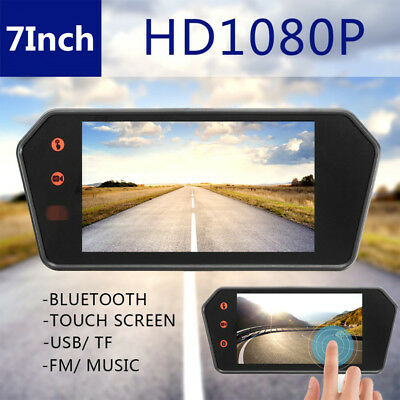 1080P Car 7'' Touch Mirror Rearview Monitor Video Player FM/USB/TF Card Port 12V